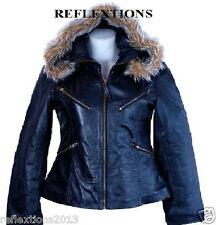 Leather Women Jacket Hood  Fur Stylish Zipper Soft Winter Ladies Leather Jacket