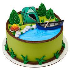 Camping 4 piece Cake Decoration Kit Tent Camp Fire Canoe Oar Decorating Kit