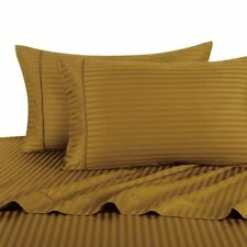 Queen Size Egyptian Cotton 15 Deep 4PCs Bronze Stripe Bedsheet Set Free Shipping