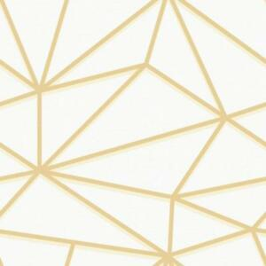 Wallpaper Contemporary Large Metallic Gold Geometric Shapes on Cream Faux