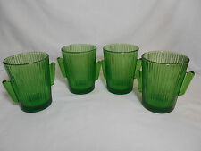Libbey Glass 9 Green Cactus 10 oz Double Old Fashion Tumblers Bar ware.  N.O.S.