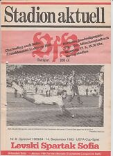 Orig.PRG    UEFA Cup   1983/84  VfB STUTTGART - LEVSKI SPARTAK SOFIA  !!  SELTEN