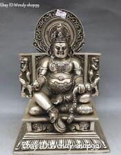 Rare Old Silver Yellow Jambhala Wealth God Yuanbao Lion Mouse Buddha Statue