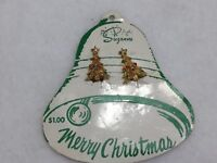 Vintage Suzanne Christmas Tree Clip Earrings on Card Goldtone 22379