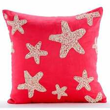 Coral Pink Pillow 16x16 inch Decorative, Linen Starfish - Corallian Star Spirit