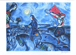 Marc CHAGALL Lovers Over Paris Facsimile Signed Fine Art Print