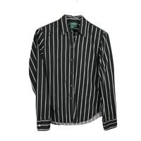 Lauren Ralph Lauren Womens Button Down Shirt Size Small Black White Striped Top