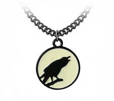 GENUINE Alchemy Gothic Pendant - Caw At The Moon | Men's Ladies Raven Necklace