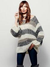 MES DEMOISELLES Jordan Free People Ecru Gold Metallic Gray Striped Sweater 2/M