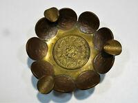 PA8 kunstvoller, alter Bronze- Münzen Aschenbecher Mexiko, Dm11x4cm 145g Rarität
