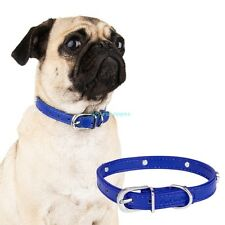 Blue Adjustable PU Leather Paw Print Pet Puppy Dog Collar Neck Buckle S M L XL
