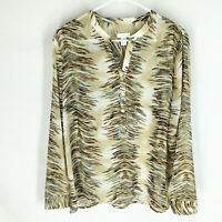 Chico's Popover Tunic Blouse Size 2 Sheer Long Sleeve Flowy Boxey Womens
