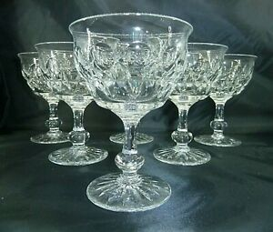 6 Vintage Tudor Crystal Cut Glass Champagne Coupes Glasses Raleigh Pattern