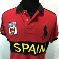 Polo Ralph Lauren Custom Fit Shirt Red Spain Esp 10 1967 Big Pony Large HH11