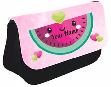 Personalised watermelon melon  Pencil Case make up bag school Birthday name girl