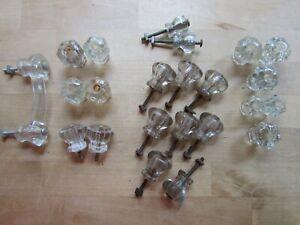 Set of Vintage Glass Drawer Pulls Knobs  hardware different Sizes