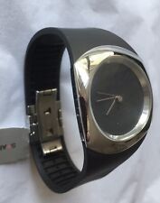 Philippe Starck Watch 'Minimalist' PH5041, Blk Dial & Band, Stainless Case, NWT!