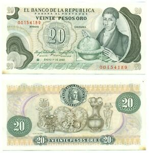COLOMBIA NOTE 20 PESOS ORO 1.1.1983 REPLACEMENT P 409d AU