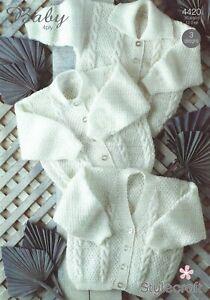"4420 Stylecraft Wondersoft Baby 4ply Knitting Pattern Cardigans 3 Designs 12-24"""