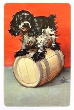 VINTAGE SWAP CARD. COCKER SPANIEL DOG 'BUTCH' ON BARREL. ALBERT STAEHLE. TRUMP