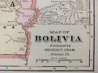 "Vintage 1903 BOLIVIA Map 14""x11"" Old Antique Original SUCRE LA PAZ PUNA TRINIDAD"