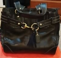 COACH 10228 Black Leather Dual Handle Satchel Handbag