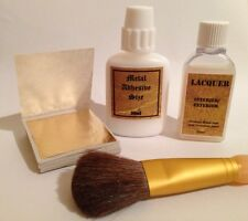 30ml Metal Leaf Size Adhesive, 50 Gold Sheets, 25ml lacquer, Brush. Gilding Set