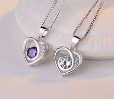 Herz Anhänger Jewelry Schmuck Silber Kette Halskette mit Lila Weiß Strassstein
