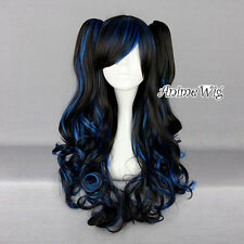 Lolita Long Curly Black Mixed Blue Fashion Cosplay Hair Wig With Two Ponytails