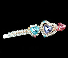 women jewelry accessories heart extension hair side clip crystal comb barrette J