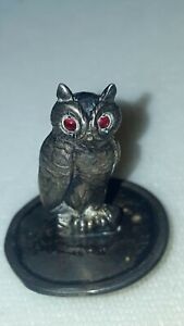 Antique Unger Bros Sterling Owl Pen Wipe Miniature Silver Red Glass Eyes