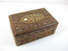 Vintage handcarved wooden box with white inlay work made in India