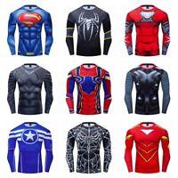 Men Superhero T-shirts Long Sleeve Quick Dry Gym Compression Cycling 3D Printed