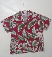 Red Hawaiian Shirt, Mens XL, Floral design Short Sleeve