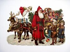 """Charming 1800""""s Die-Cut of Santa Delivering Toys to Two Children w/ Reindeer *"""