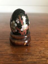 Vintage Cloisonne Egg on Wooden Stand