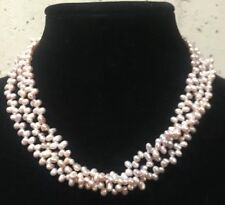 Vintage Freshwater Pearl Triple Strand Necklace Pink Hue Magnetic Clasp