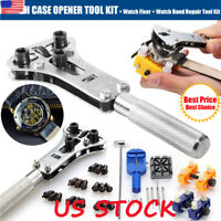 US Watch Repair Tool Kit and Spring Watchmaker Back Case Opener Remover Pin Bars