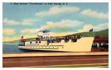 Ticonderoga Steamer Lake George New York Linen Postcard