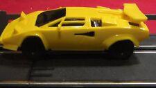 Artin 1:43 Slot Car NASCAR TYPE BLACK WHEELS Yellow Lamborghini  w/ headlights