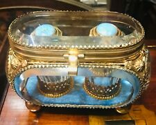 UNIQUE VICTORIAN ERA CRYSTALS PERFUM BOTTLES SET IN ORMOLU B CRYSTAL TRINKET BOX