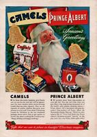 1940 Camels Cigarettes Santa Claus Christmas Prince Albert Vintage Art Print Ad