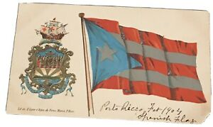 Early Color Postcard Puerto Rico Flag & Coat Of Arms Undivided Back Scarce 1904