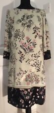 Beige tunic midi dress from M&Co with delicate pink & grey flowers size 12