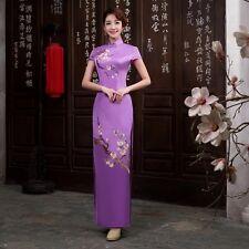 USA seller purple Chinese long Women Qipao Dress Evening Cheongsam Asian Size L