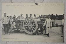 """CPA """" Camp de SISSONNE - Artillerie lourde - Manoeuvre du Canon Rimailho"""