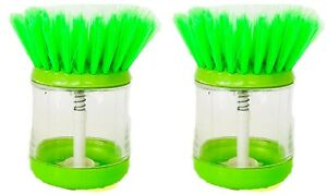 2 x GREEN Soap Dispensing Washing Up Scrubber Brush Dishes Cleaning Scouring Pad