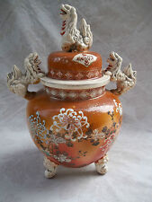 Large Japanese19th Century Satsuma Vase, signed. Complete with lid. Dog motif.