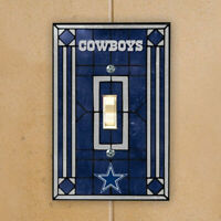 DALLAS COWBOYS NAVY BLUE ART-GLASS SWITCH PLATE COVER
