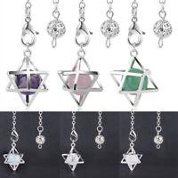 Reiki Merkaba Pendant Pendulum Hexagon Healing Gemstone Crystal Jewelry Gifts